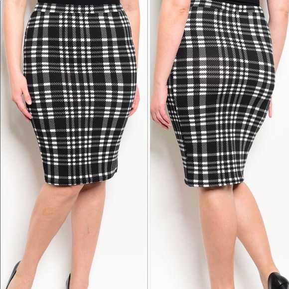 ec3bad9f1181 Skirts | Black White Plaid Pencil Skirt Plus Size | Poshmark